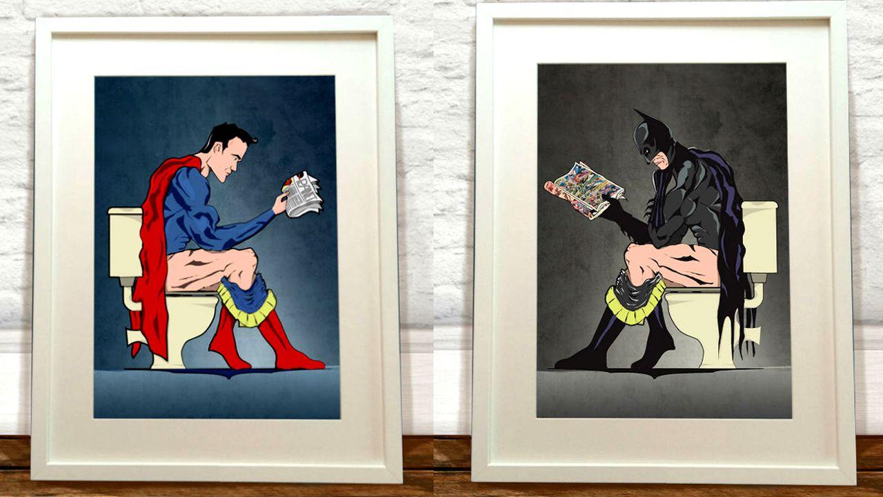 Batman Superman On The Toilet Poster Set | Weird Funny Cool - Stuff ...