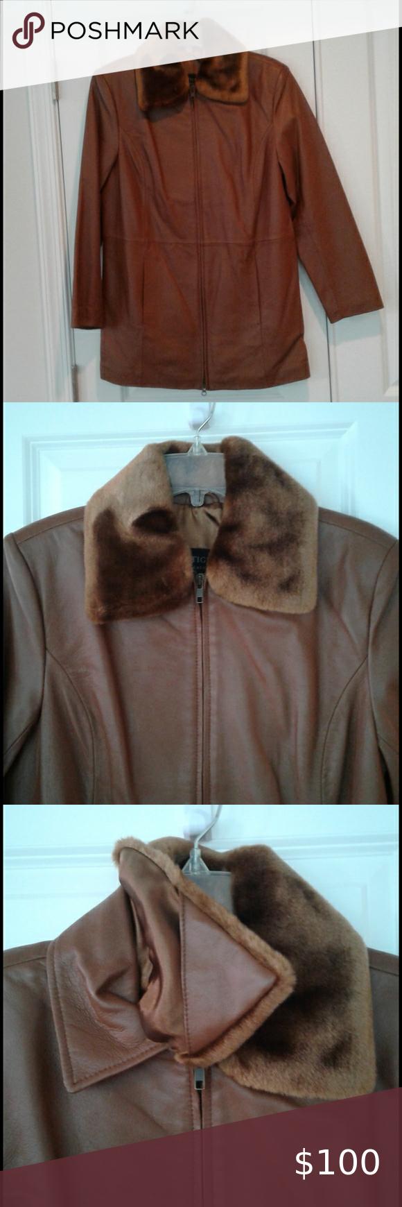 Centigrade Brown Leather Faux Fur Coat Size Xs In 2020 Leather Faux Fur Coat Faux Fur Coat Fur Collar Jacket [ 1740 x 580 Pixel ]