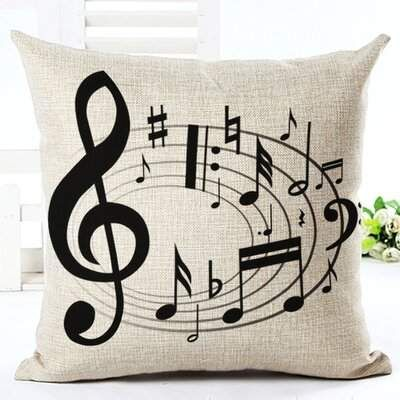 Red Barrel Studio Schroder Swirling Music Note Cotton Throw Pillow | Wayfair