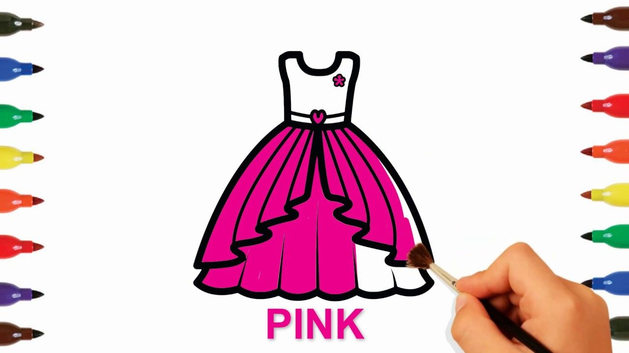 Toy Baby Dress Coloring And Drawing How To Draw Learn Colors For Kids Toddlers Coloring For Kids Coloring Pages For Kids Learning Colors