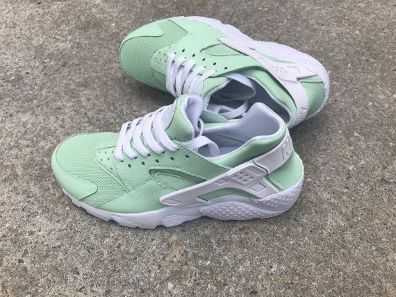 premium selection 56be3 4f352 Mint Nike huaraches custom by QueenofCustomz on Etsy