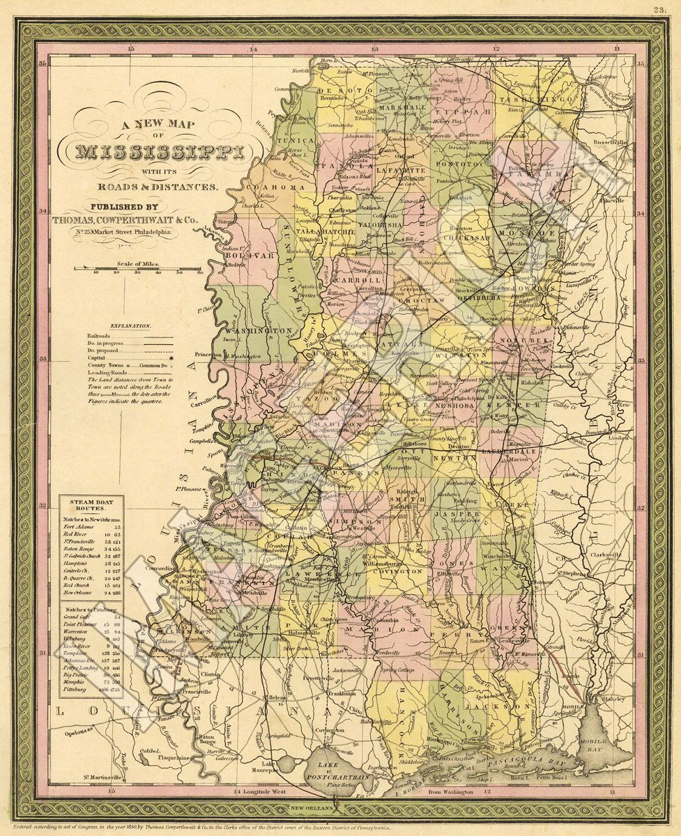 Vintage State Map Mississippi By Imagerich On Etsy - Us map ms