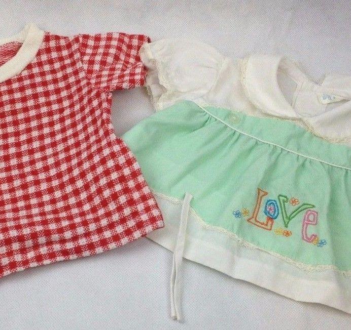 2 pc Lot  VTG Baby Doll Clothes Summer Picnic Gingham Love Dress Shirt Retro CPK  | eBay
