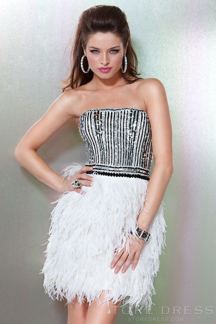 Beading mini length tassel strapless cocktail dress cocktail