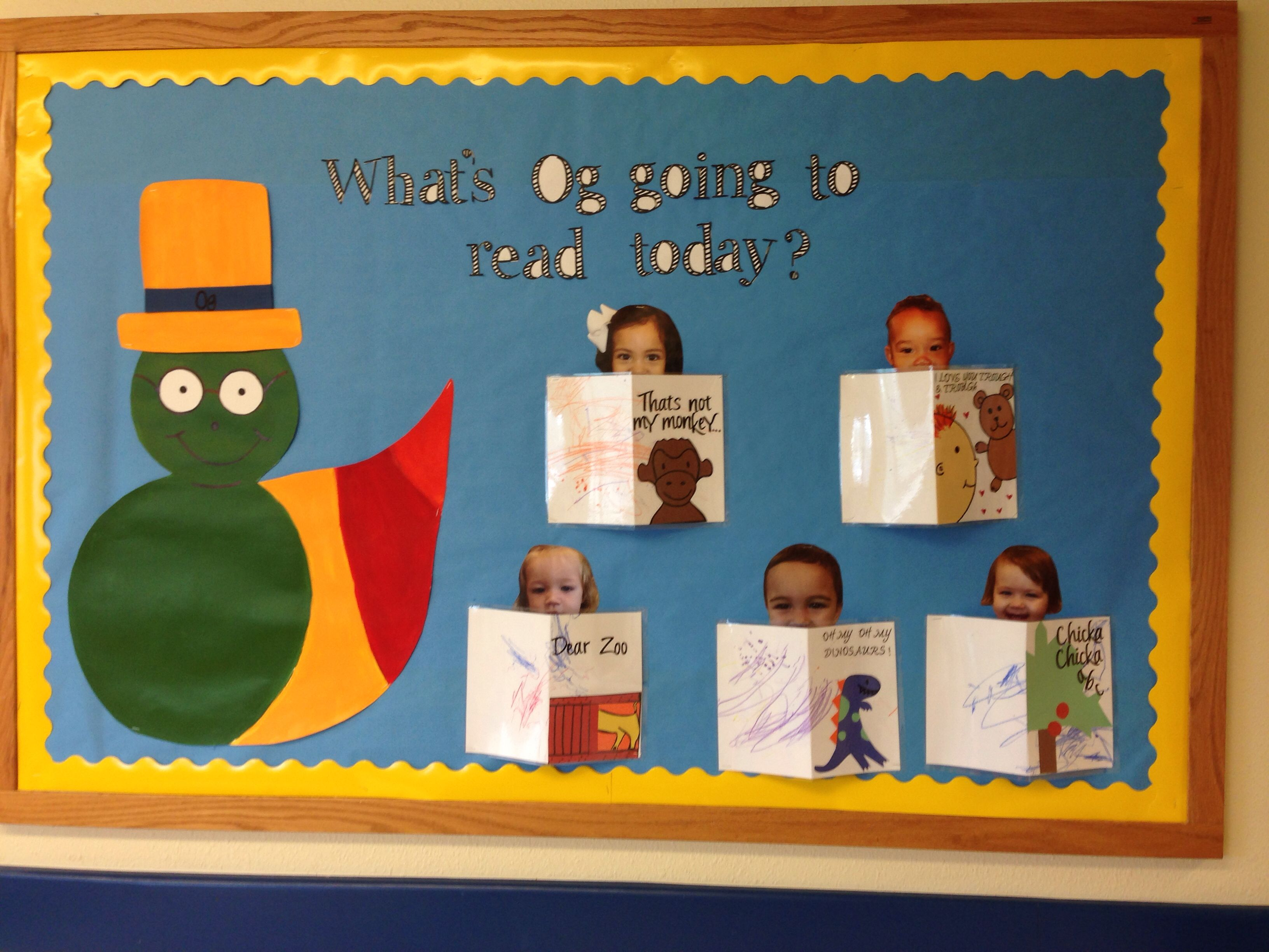 Primrose Friend Og The Little Book Worm Reading Board Primrose Schools Preschool Activities Classroom Bulletin Boards