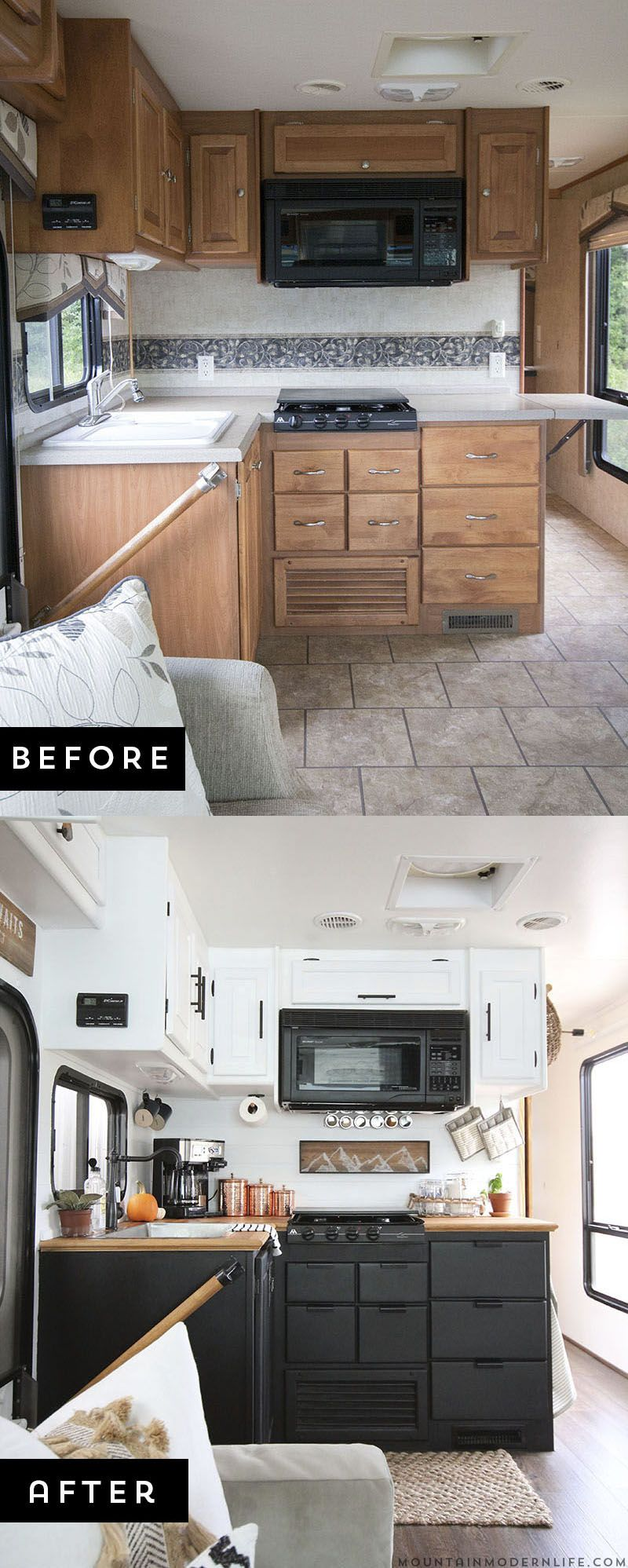 rv kitchen renovation rv life pinterest roulotte caravane et camping. Black Bedroom Furniture Sets. Home Design Ideas
