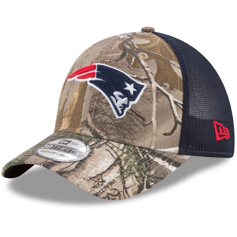 huge discount 6ff76 7387e New England Patriots New Era Trucker 39THIRTY Flex Hat - Realtree Camo Navy