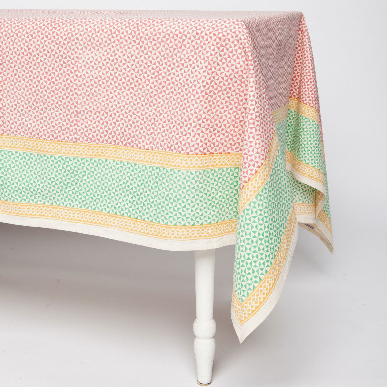 Orange Geometric Cotton Tablecloth 60 by 60