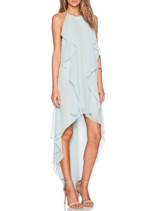 6b2126a938b9b ACHICGIRL Women s Flounce Decor Sleeveless Asymmetric Chiffon Dress ...