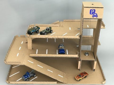 Photo of DIY toy car parking hot wheels with lift – Cardboard toy