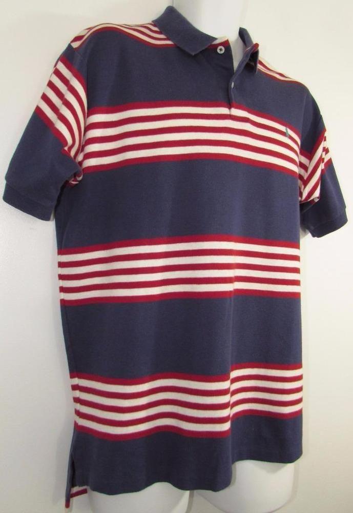5d77cda21 Men Polo Ralph Lauren Pony Golf Shirt Striped 100% Cotton Made in USA sz X