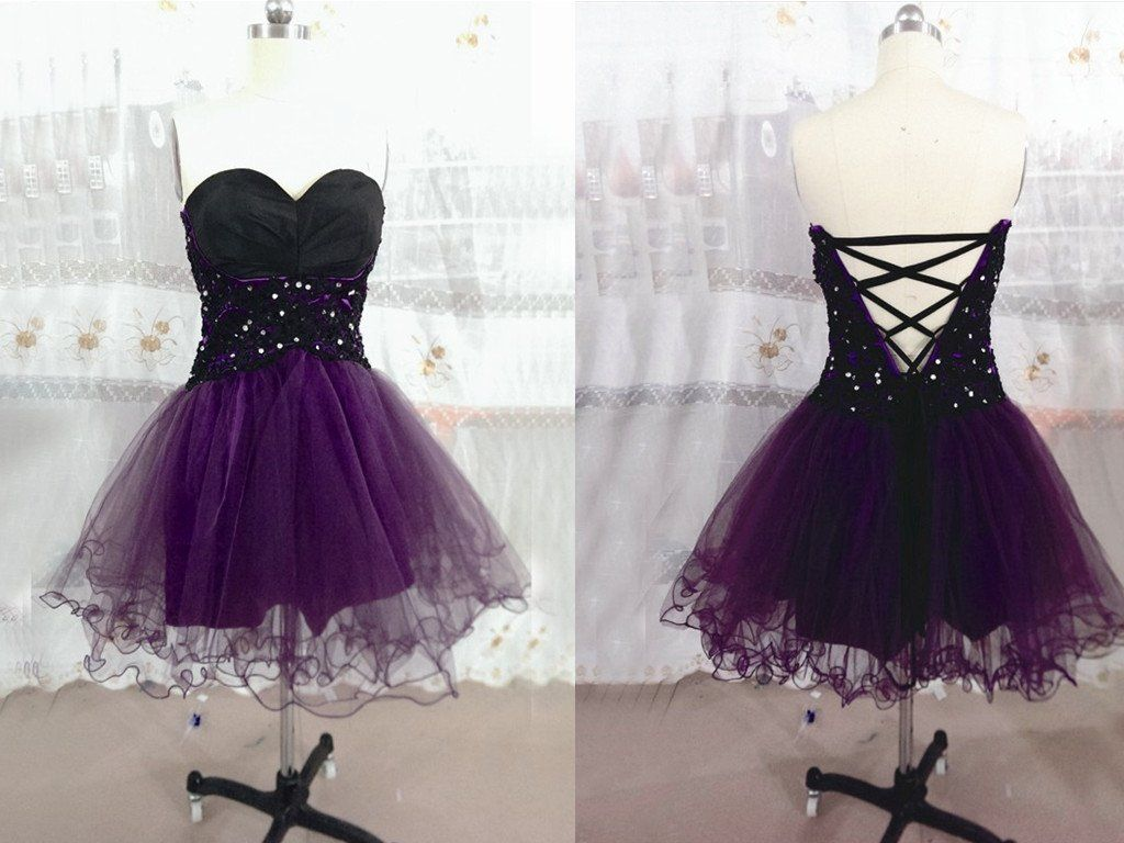 Lace homecoming dresstulle homecoming dressgrape homecoming dress