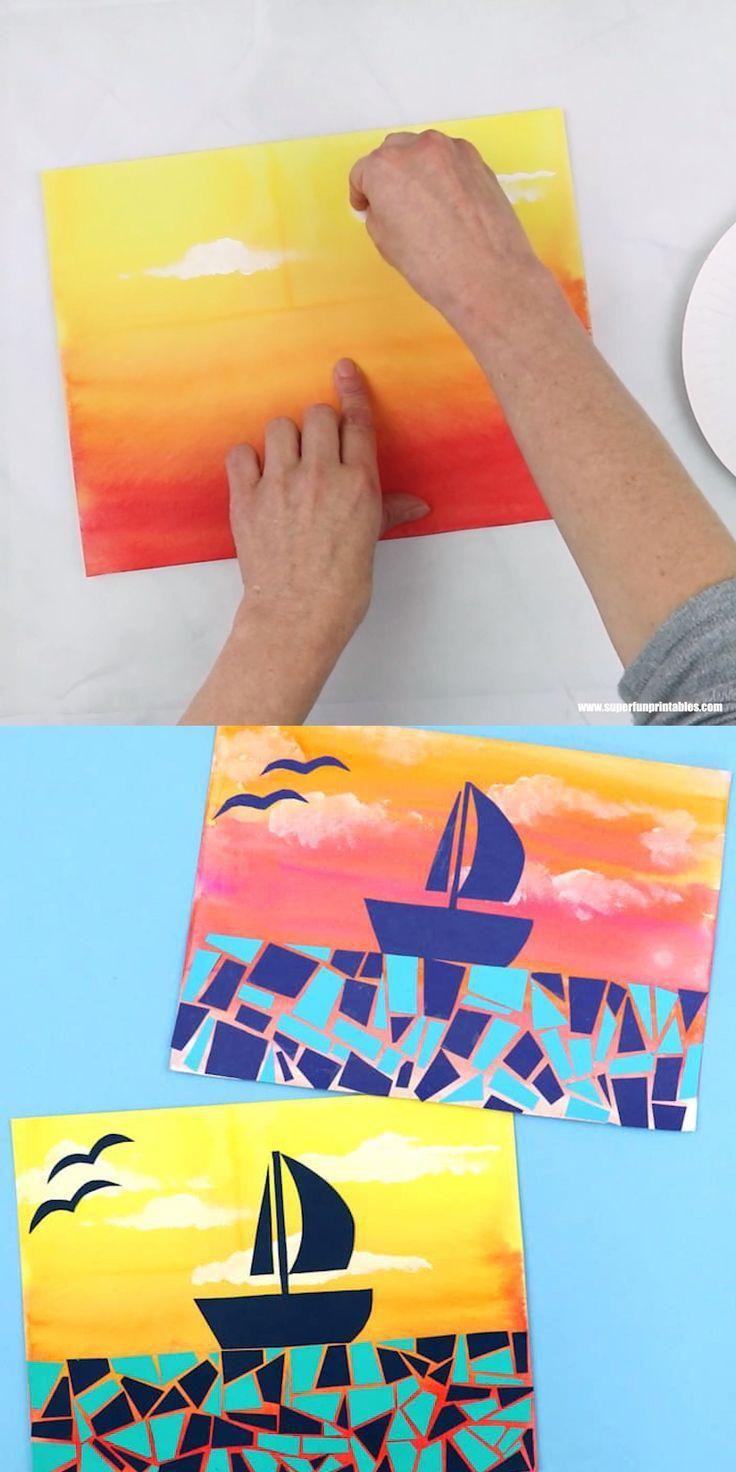 paper mosaic sunset boat scene