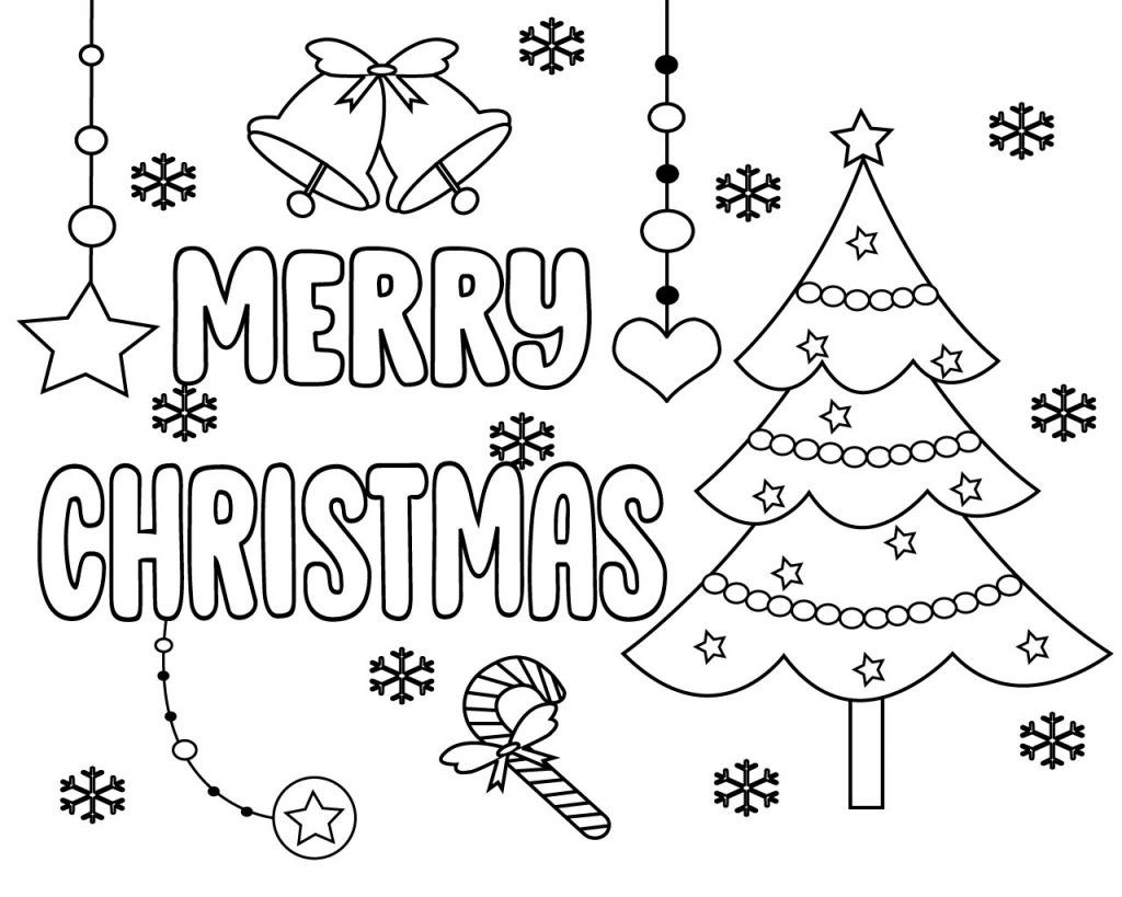 Merry Christmas Words Coloring Pages