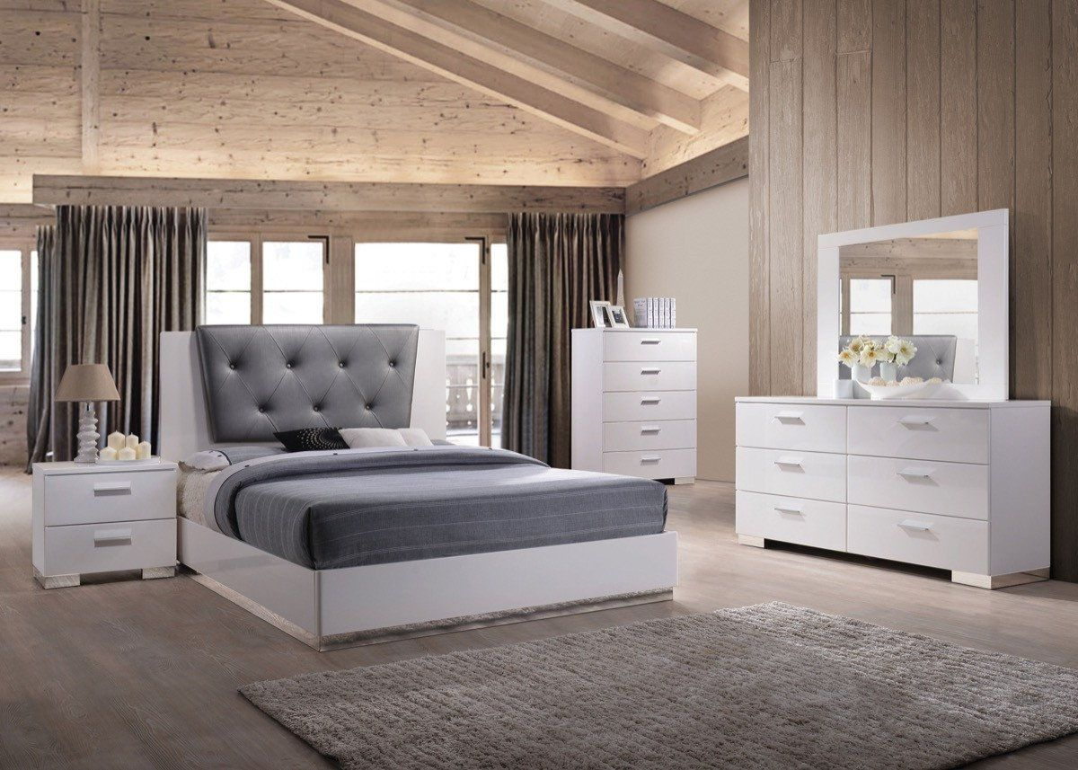 acme lorimar ii eastern king bed gray pu white 22617ek king