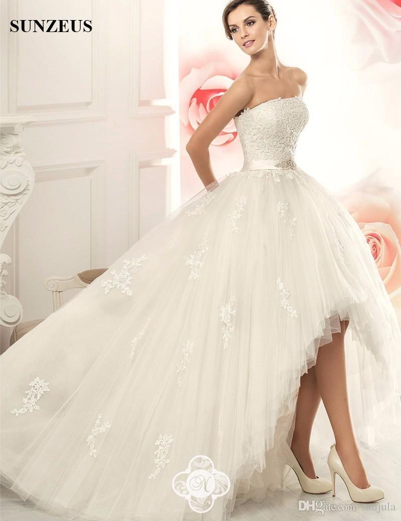 Detachable skirt wedding dress  High Low Puffy Wedding Dresses  Strapless Princess Detachable