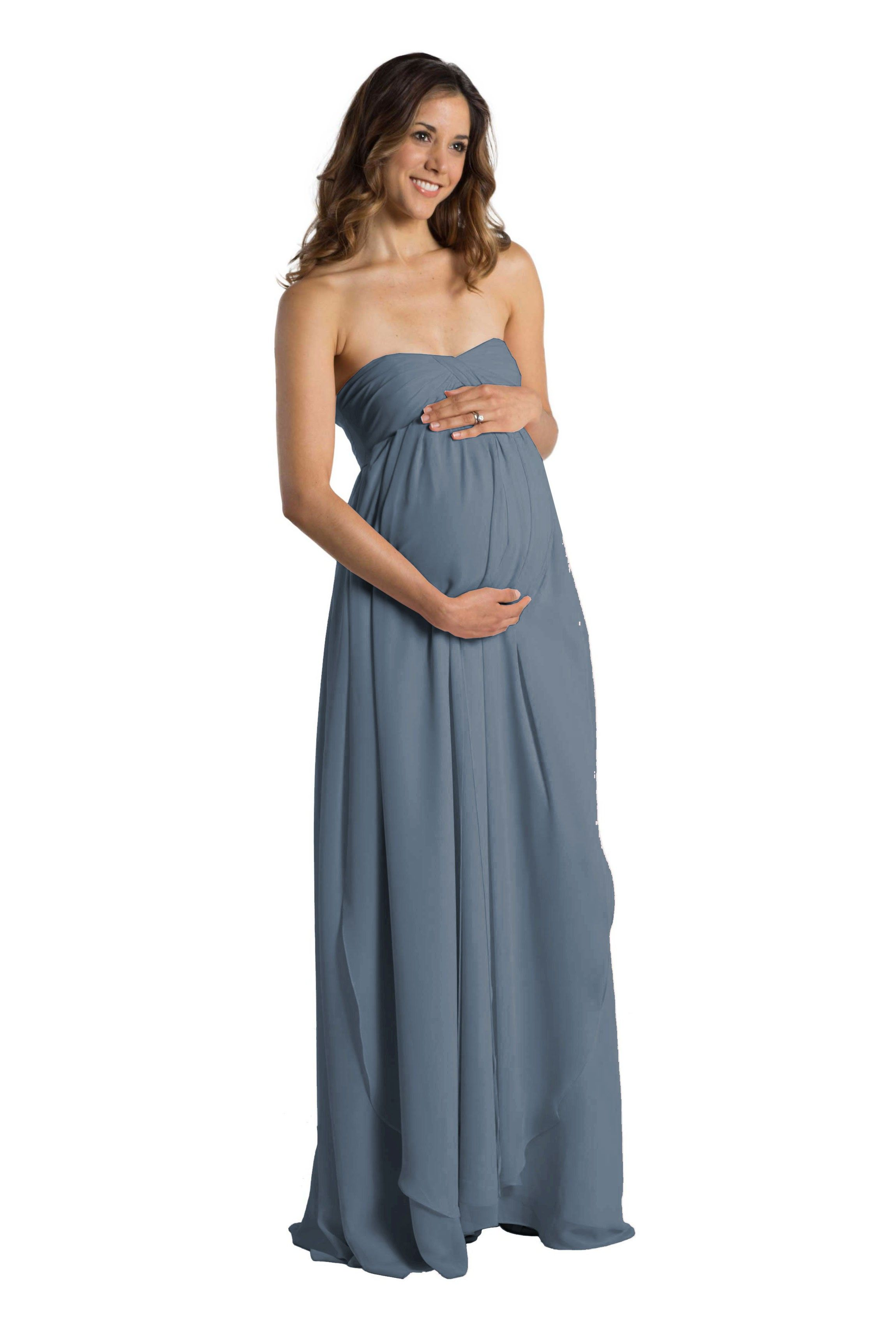 A floor-length convertible maternity bridesmaid gown with flowing ...