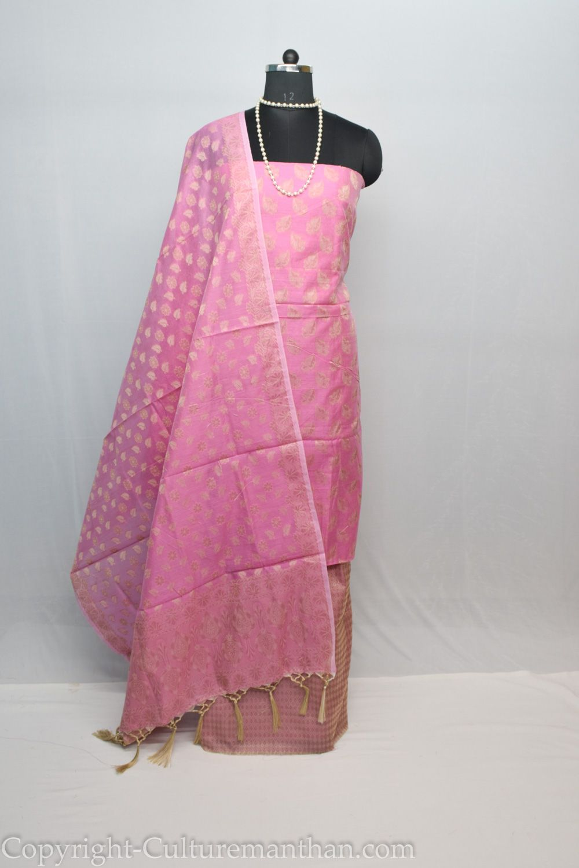 Cotton Silk Pink Suit Piece With Floral Design Dress Material