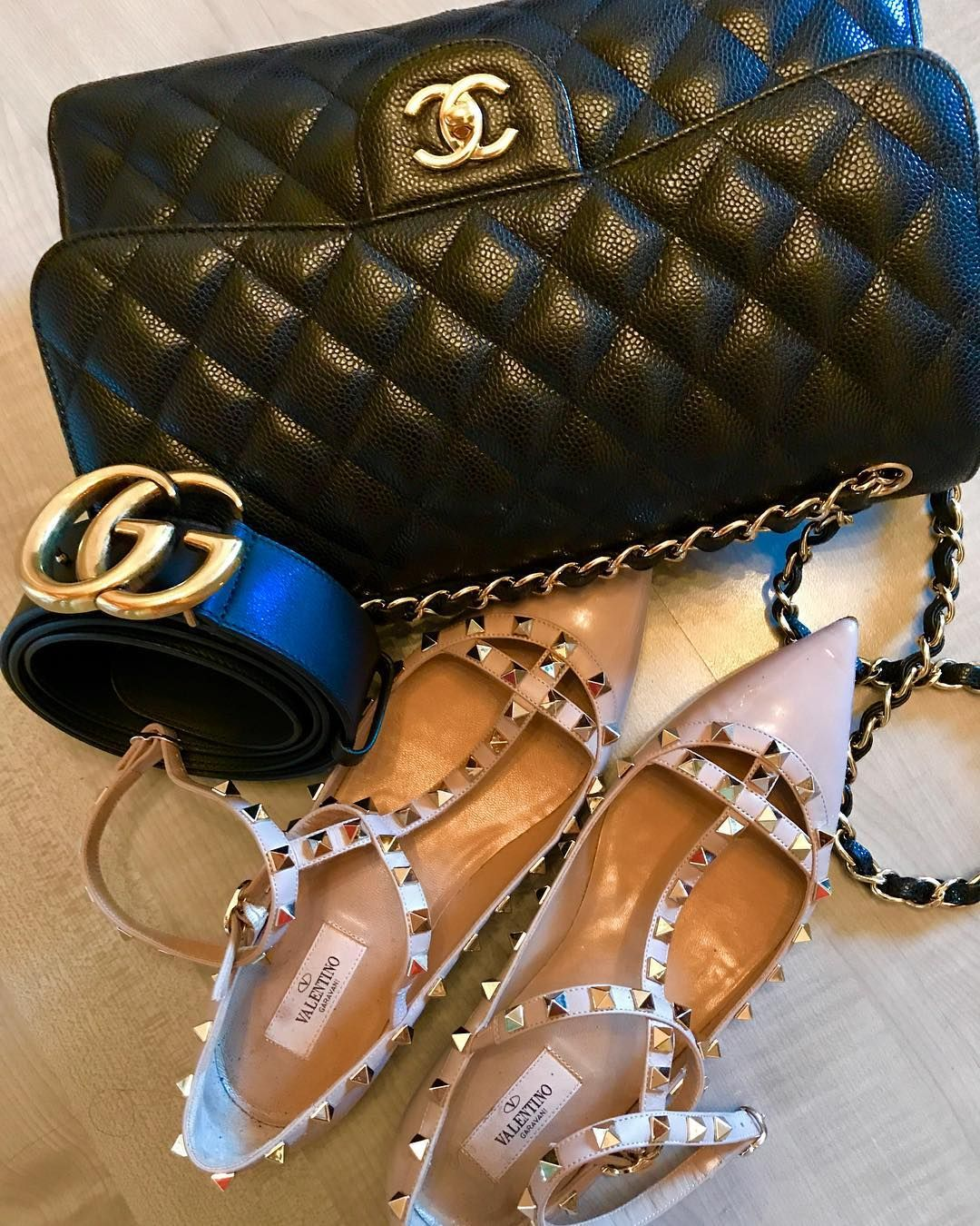 7c5827472640eb Chanel Flap Bag & Gucci Belt in Black & Valentino Shoe For Women. Best  Accessories To Keep Fashion Everyday.