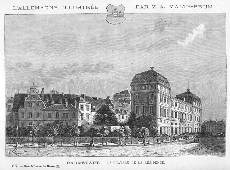 Darmstadt Das Schloss Original Holzstich Clerget 1888 In