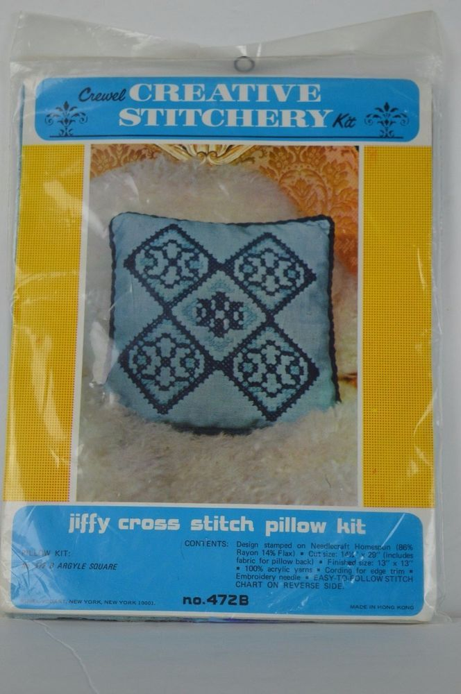 #Crewel #Creative #Stitchery#Jiffy #Cross #Stitch #472B #Blue #Argyle #pillow #kit #CrewelCreativeStitchery