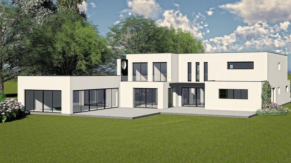 Maison contemporaine avec toiture terrasse   Permis de construire et ...
