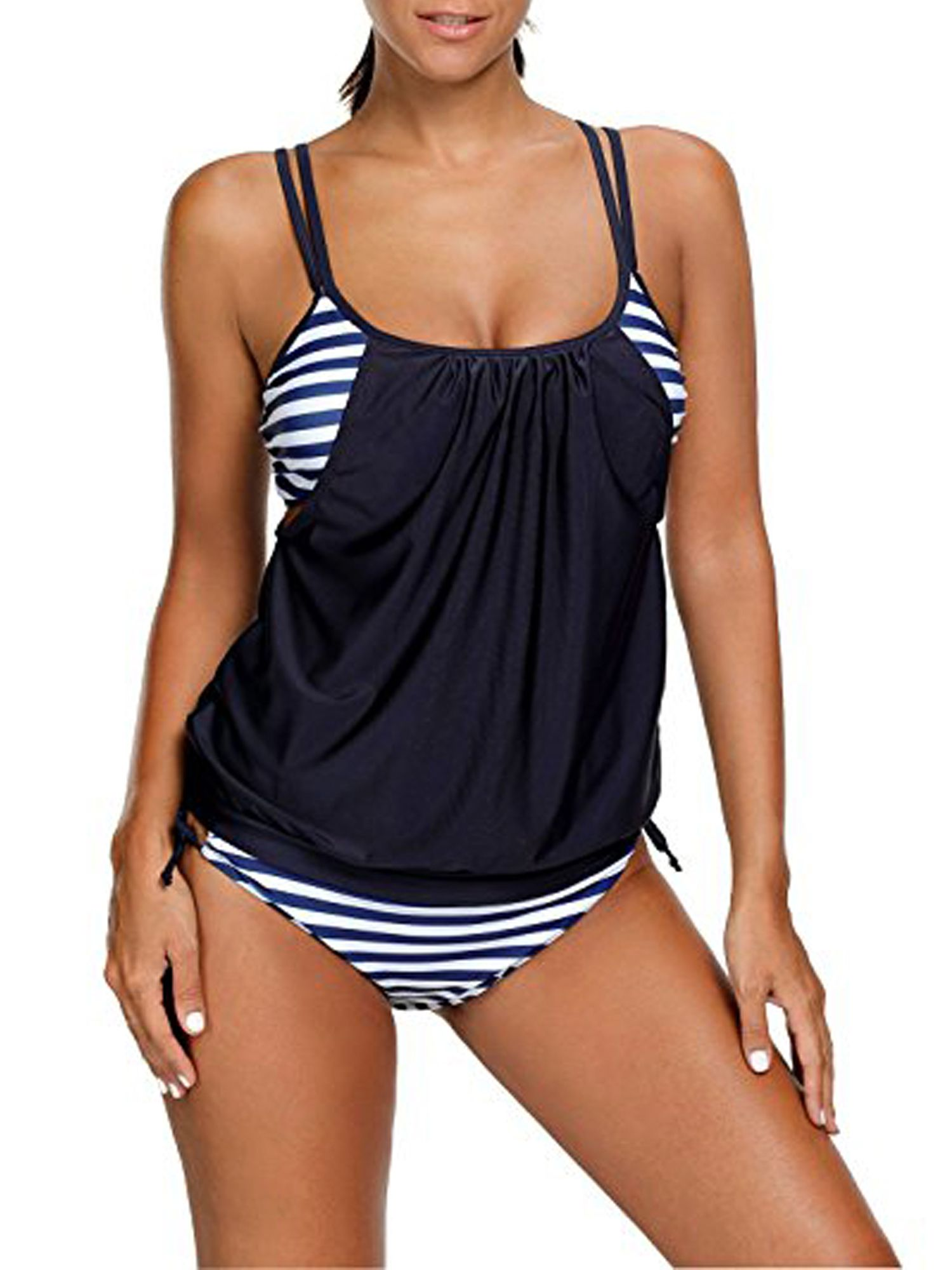 9ec3ee70149 SAYFUT Juniors' Push Up Swimwear Tankini Stripes Lined Up Double Up Two  Piece Swimsuit Set Bathing Suit Black/Dark Blue/Red/Light Blue#Lined, # Stripes, ...