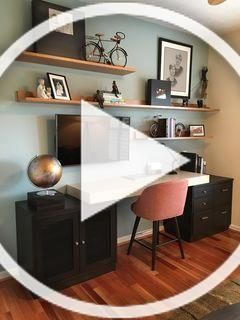 Notice the tv under the shelves #office #decor #design #interior #model #better #decoration #lighting #workingplace