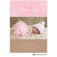 Floral Swirl Pink and French Chocolate Birth Announcement Photo Card for Baby Girl From Little Angel Announcements