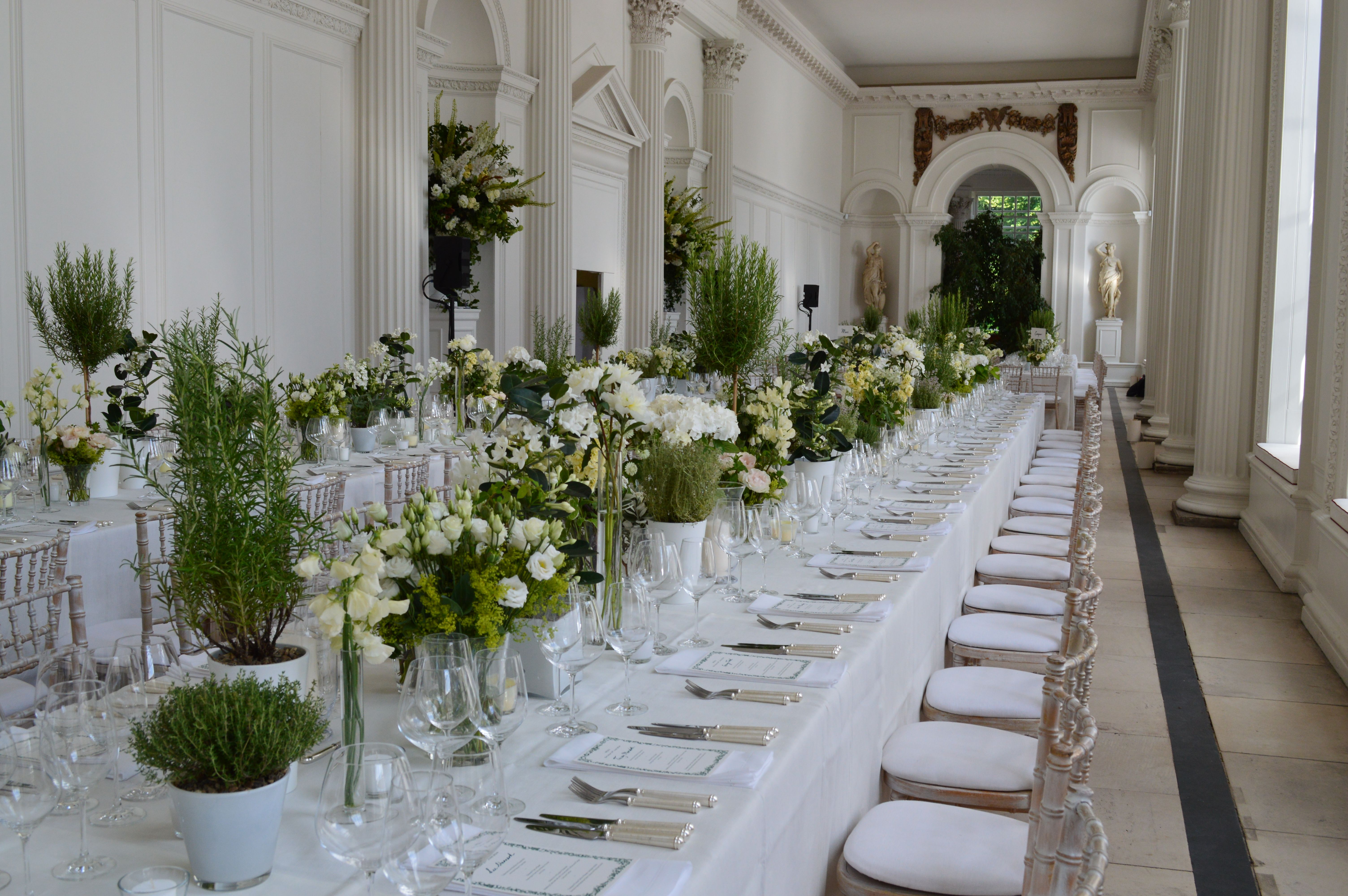 Banqueting Tables And Green Succulents For A Unique Wedding Reception In The Orangery At Kensington Pala Orangery Unique Wedding Receptions Kensington Palace