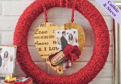 Valentine Collage Wreath made with Mod Podge Photo Transfer and yarn!