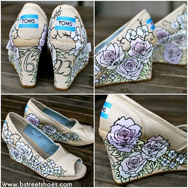Custom Sneaker By bstreetshoes Custom hand painted wedding wedges made for the beautiful notbrazilian Flowers painted to match flowers in wedding