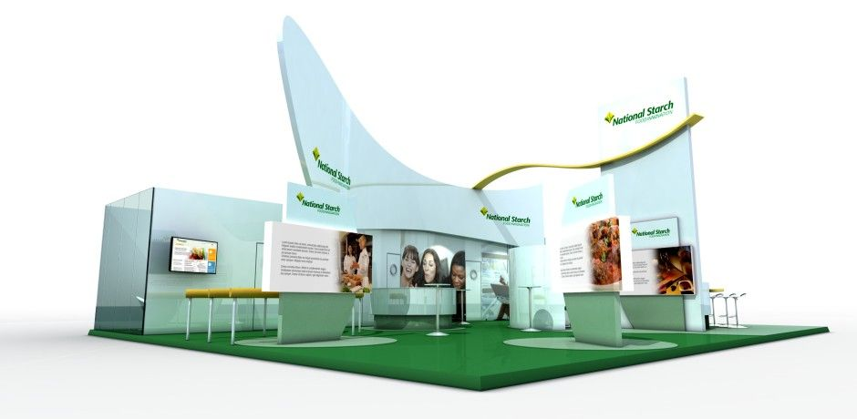 Exhibition Stand Definition : Large exhibition stand with interesting shapes to the structure
