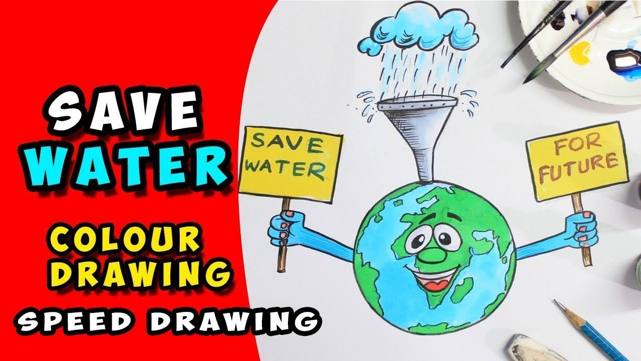 How To Make A Poster On Save Water Drawing For Kids Speed Drawing Educacion