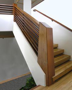 mid century modern wood handrails - Google Search