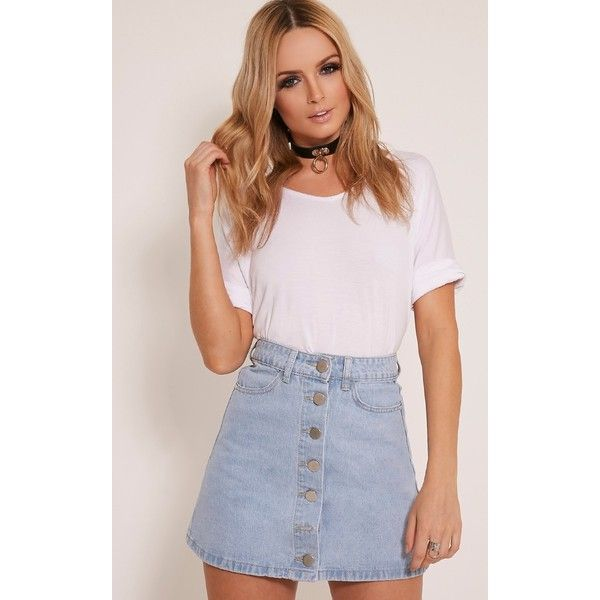 Kaela Light Wash Denim Button Down Skirt-6 (445 MXN) ❤ liked on ...