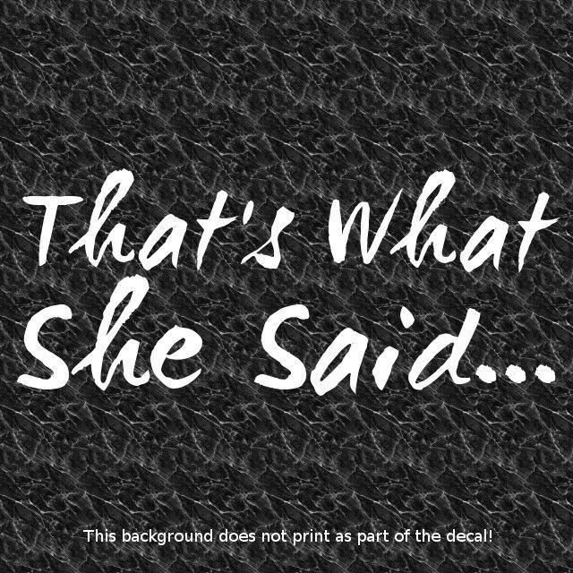 Thats what she said vinyl decal sticker comedy phrases adult humor funny joke