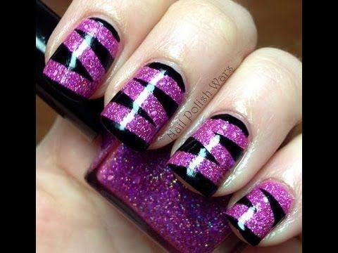 Purple on black nails