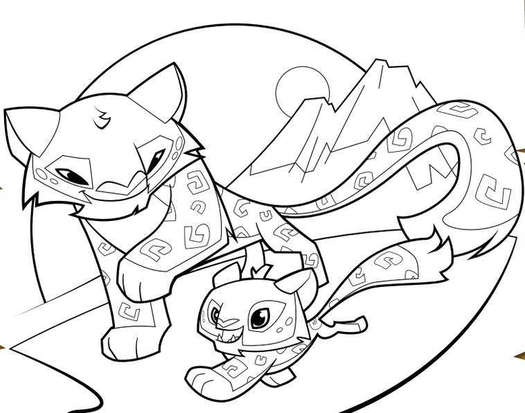 Image For Animal Jam Coloring Pages Snow Leopard Animal