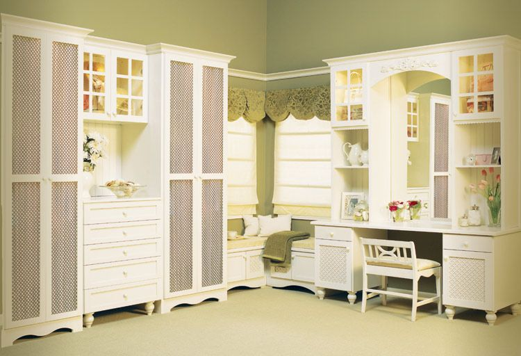 English Cottage Dressing Room With Vanity Provided By Closet Factory  Cleveland 44130
