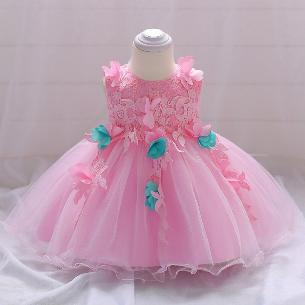 Pink Flower Baby Girl Dress With Bow Lace First Birthday Dress