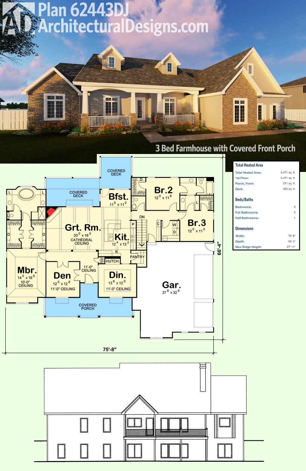 Plan 62443DJ: 3 Bed Farmhouse with Covered Front Porch | Pinterest ...