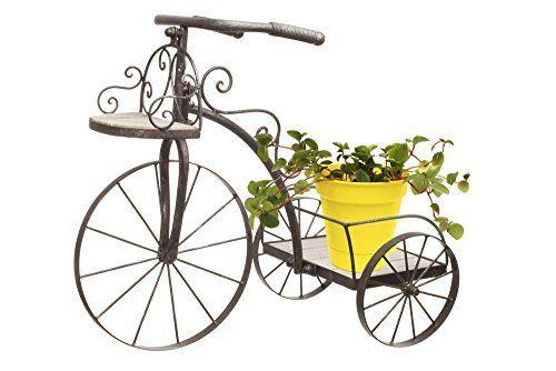 Vélo Porte Plante Décoratif Jardinière En Bois Chêne Et Fer Forgé - Amazon porte velo