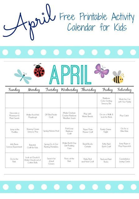 Printable Activity Calendar For Kids Free Printable From Kids