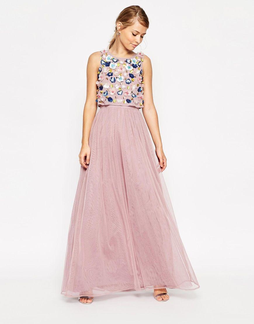 ASOS SALON 3D Floral Crop Top Mesh Skirt Maxi Dress | My Style ...
