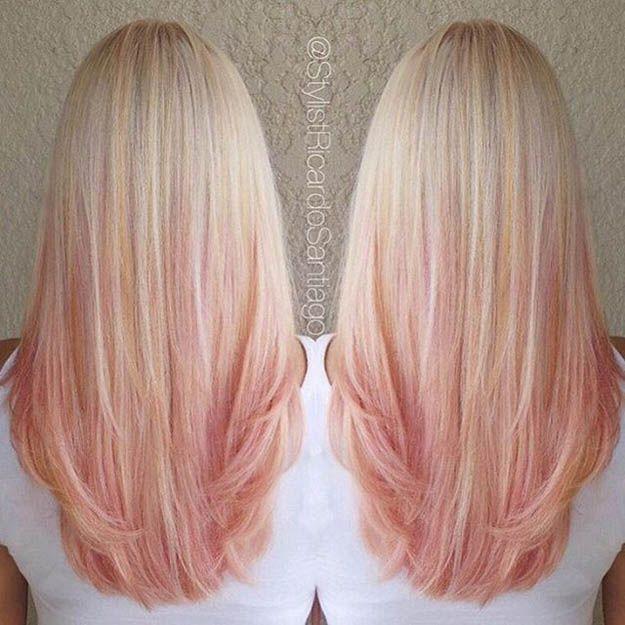 Hairstyles For Long Hair Pink And Peach Ombre Hair Hair Hair
