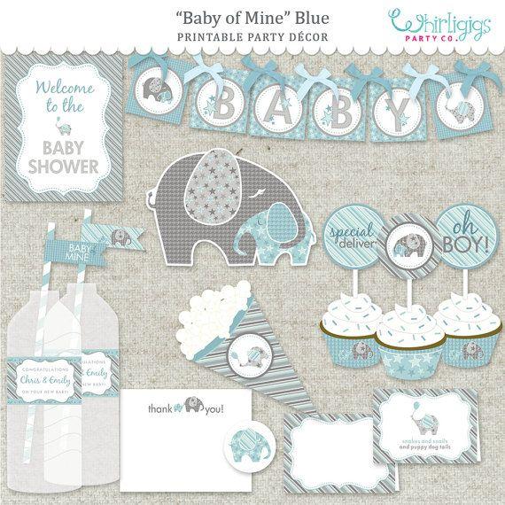 Elefante bebé ducha partido azul PDF por whirligigspartyco en Etsy