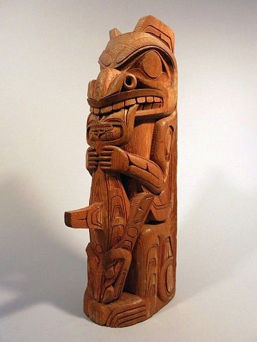 Northwest coast anonymous kwaguilth totem carved with
