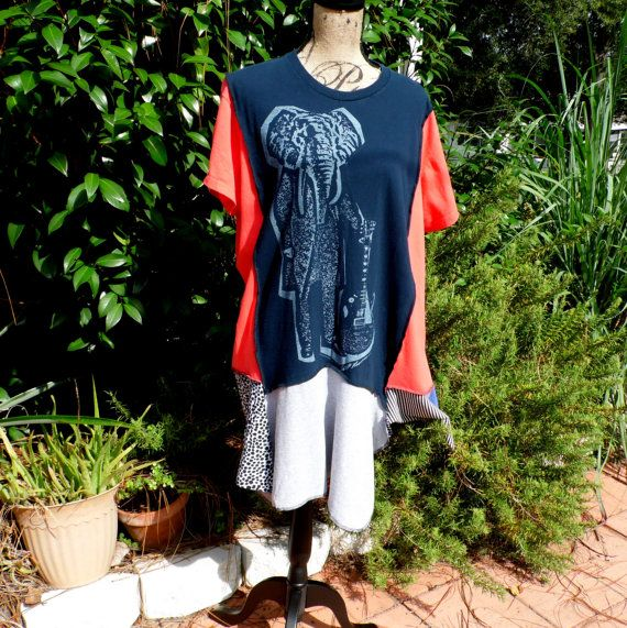 Reconstructed Tee Shirt Tunic Upcyled Tee Shirt Boho by GumboStew