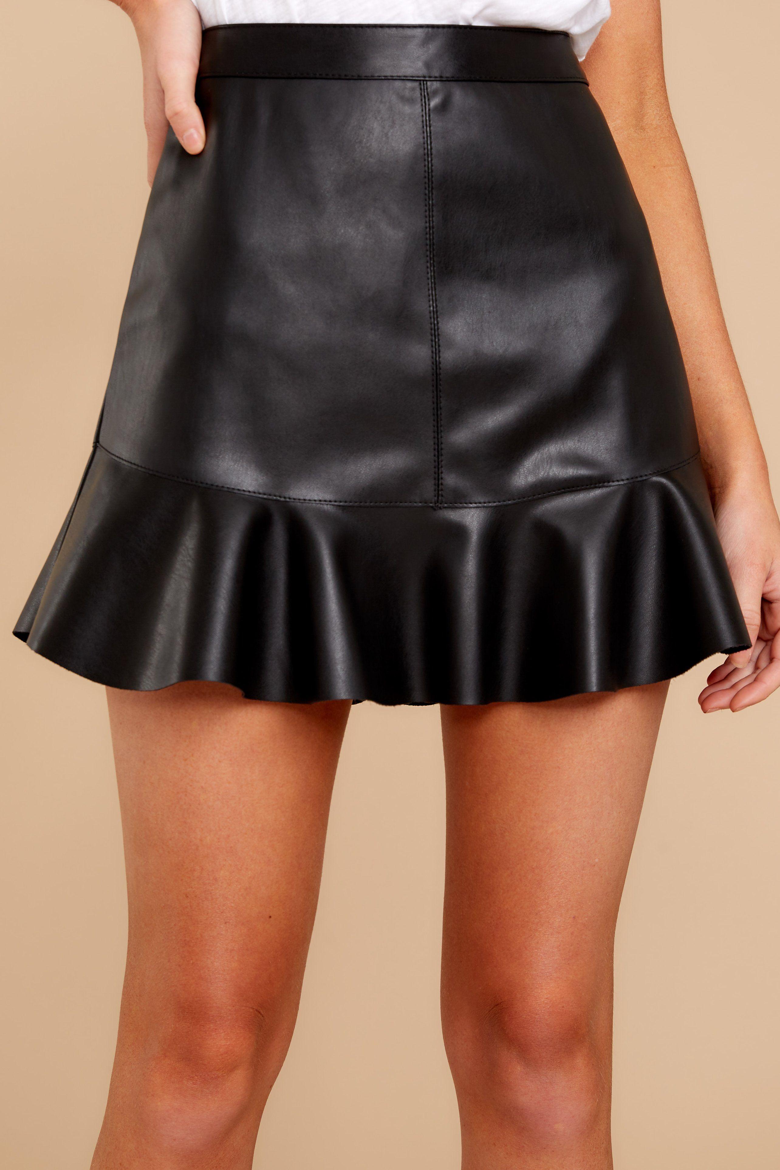 a1ec092b7c BB Dakota Black Mini Skirt - Faux Leather Ruffle Skirt - Skirt - $74 – Red  Dress Boutique